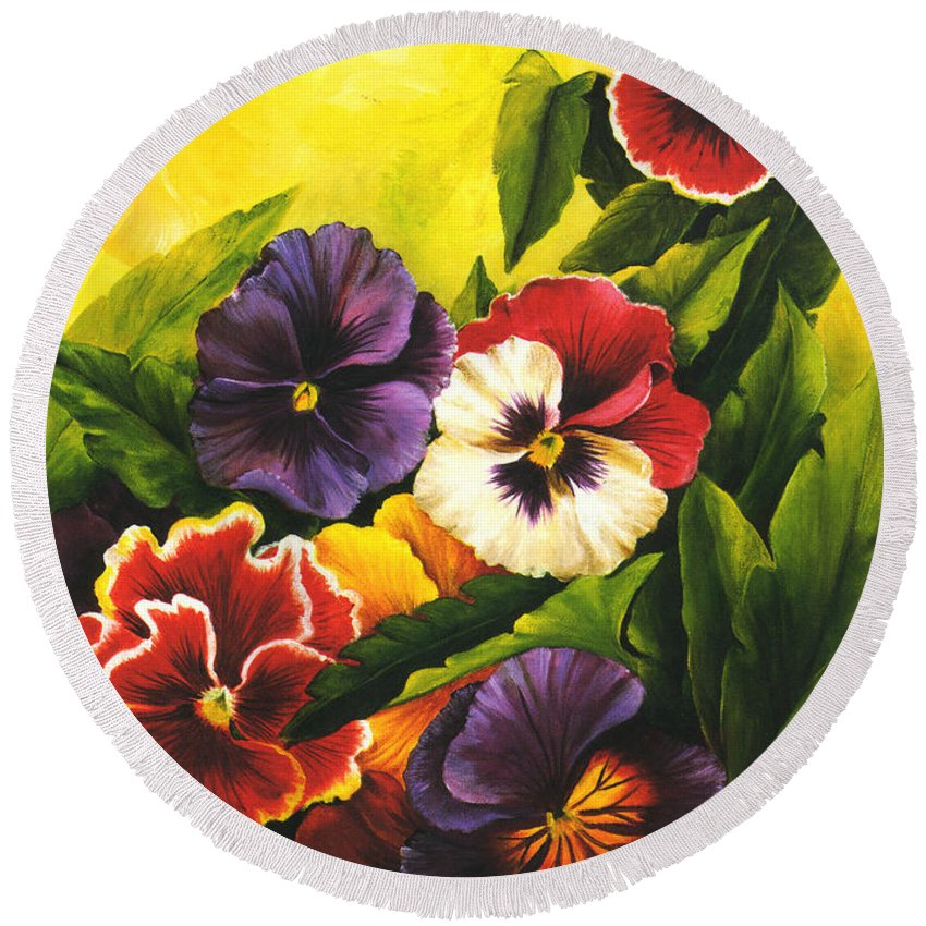 Flowers Round Beach Towel featuring the painting Pansies Or Vuela Mis Pensamientos by Dominica Alcantara