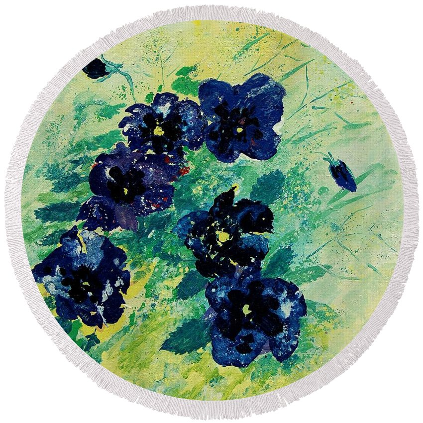 Flowers Round Beach Towel featuring the painting Pansies by Pol Ledent