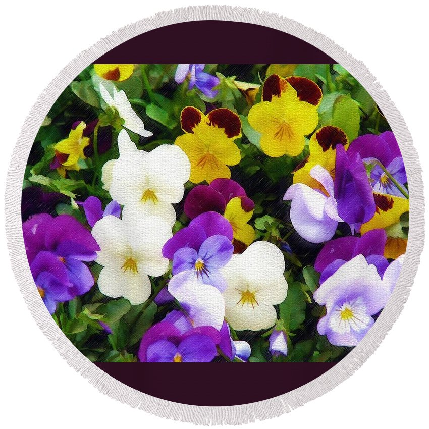 Pansies Round Beach Towel featuring the photograph Pansies by Sandy MacGowan