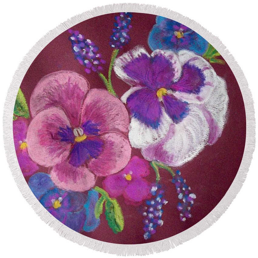 Florals Round Beach Towel featuring the pastel Pansy Grandeur by Sandra McClure
