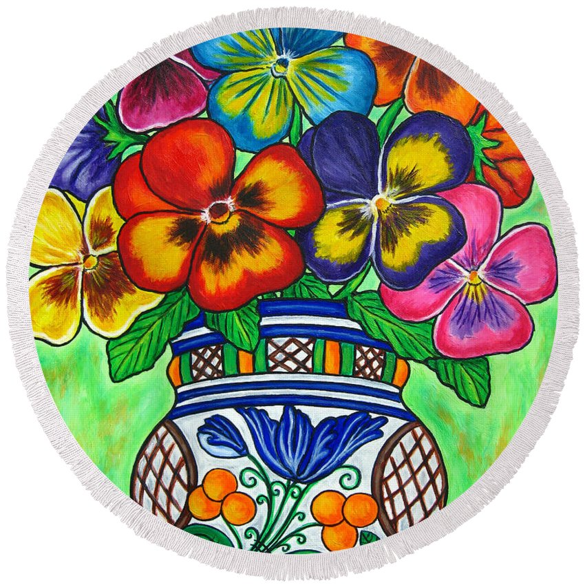 Flower Round Beach Towel featuring the painting Pansy Parade by Lisa Lorenz
