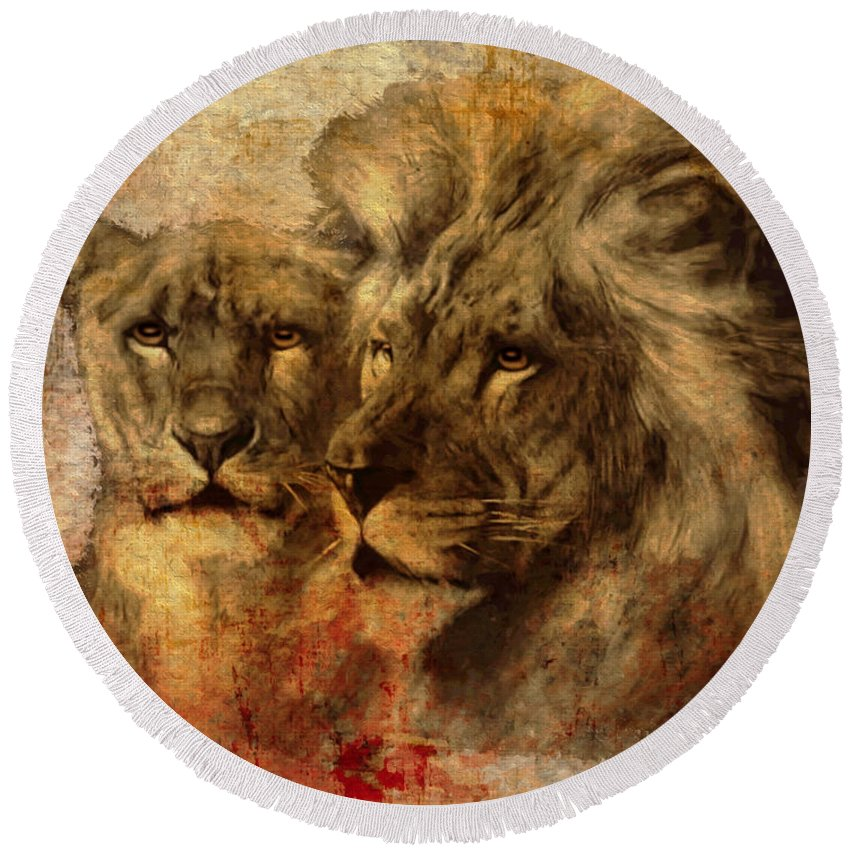 Lion Round Beach Towel featuring the digital art Panthera Leo 2016 by Kathryn Strick