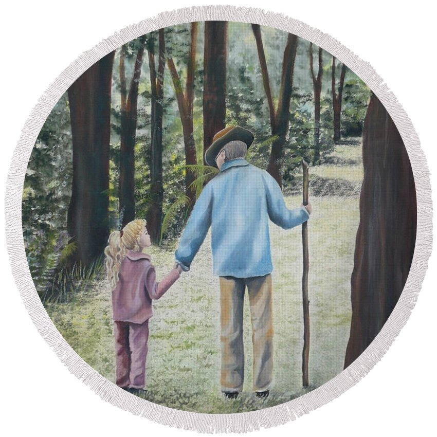 Grandfather Round Beach Towel featuring the painting Papa by Kris Crollard