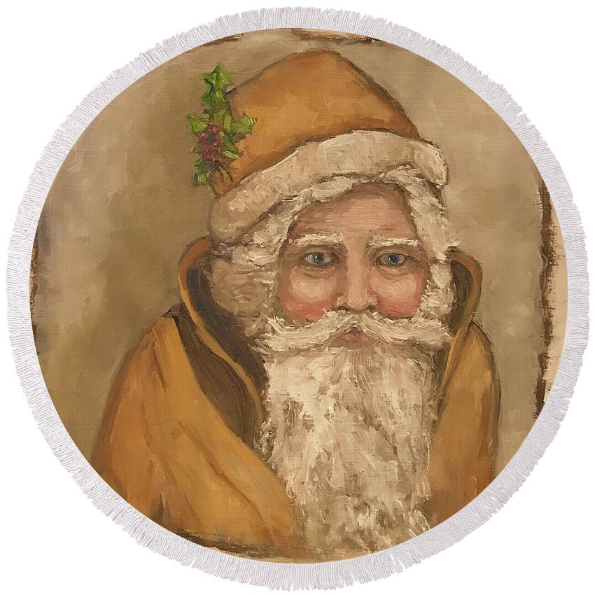 Beth Capogrossi Round Beach Towel featuring the painting Papa Noel by Beth Capogrossi