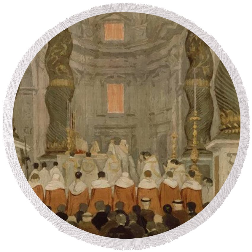 Papal Round Beach Towel featuring the painting Papal Ceremony In St Peter In Rome Under The Canopy Of Bernini by Ingres Jean Auguste Dominique