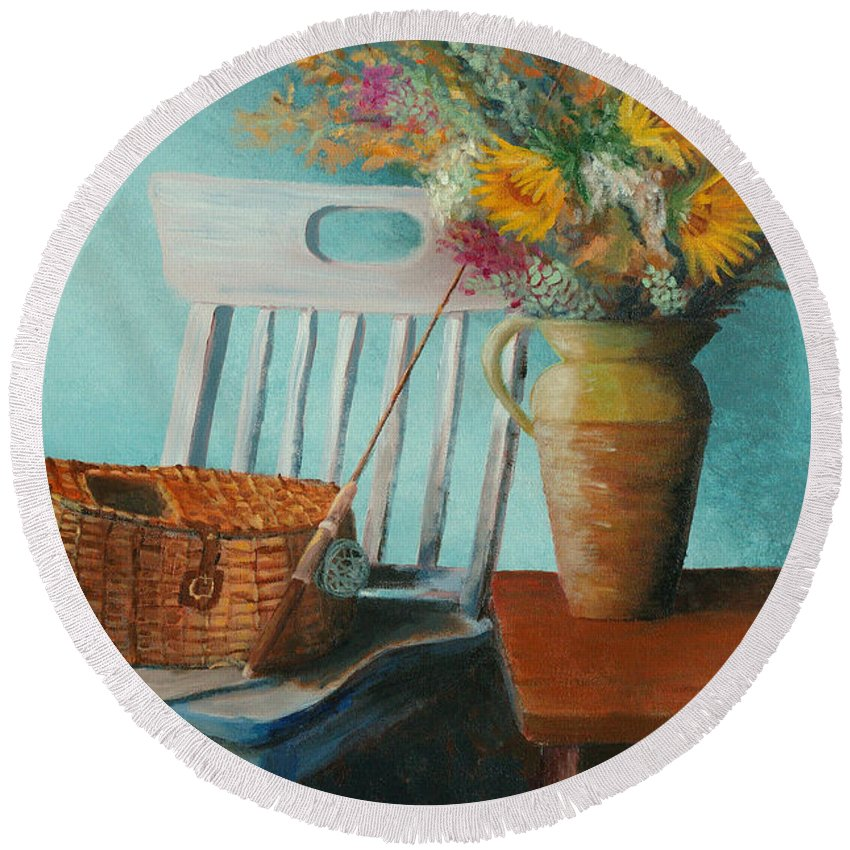 Floral Round Beach Towel featuring the painting Papa's Pole by Jerry McElroy