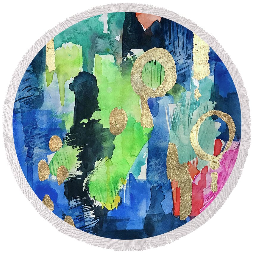 Shop Towels Paper Mache: Paper Mache' Round Beach Towel For Sale By Roleen Senic