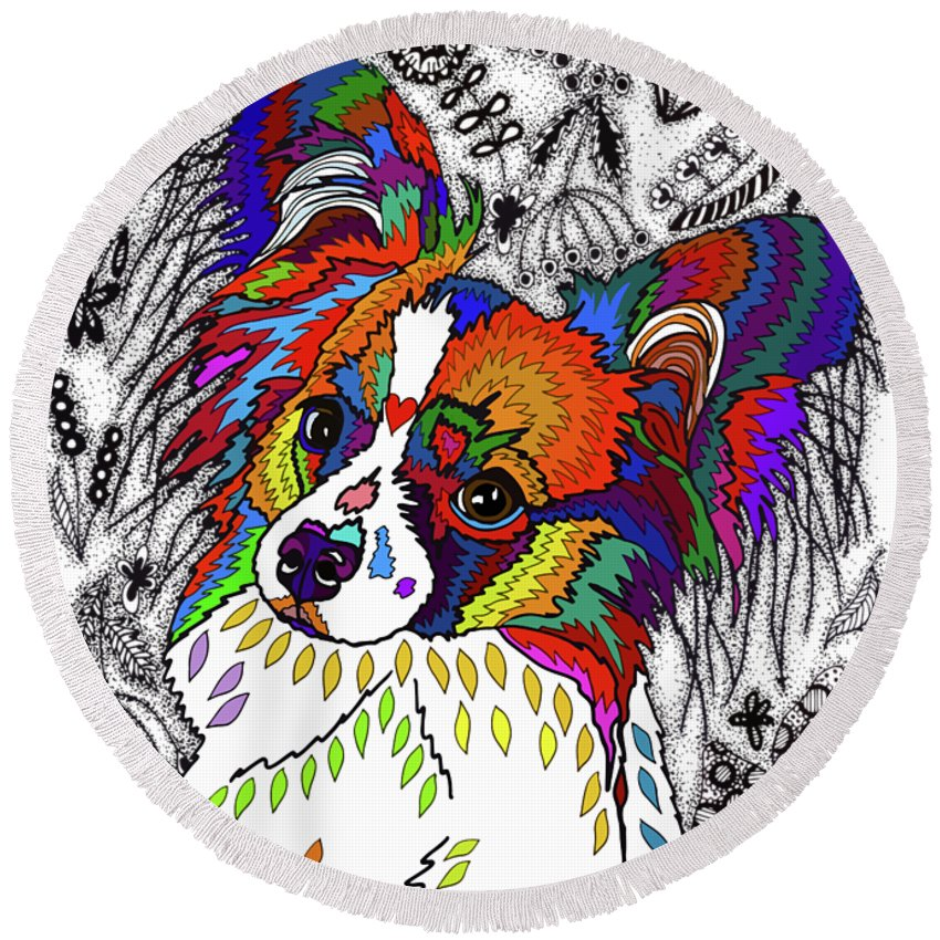 Animal Round Beach Towel featuring the drawing Papillon by ZileArt