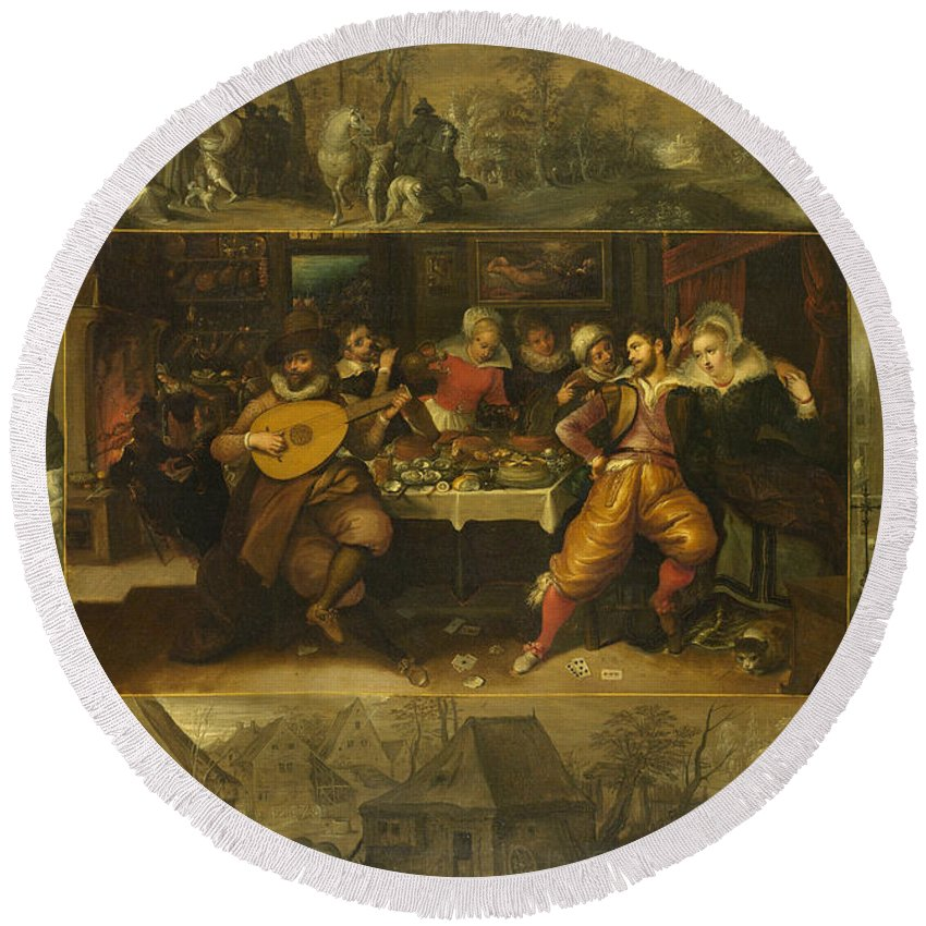 Arts Round Beach Towel featuring the painting Parable Of The Prodigal Son by Frans Francken the Younger