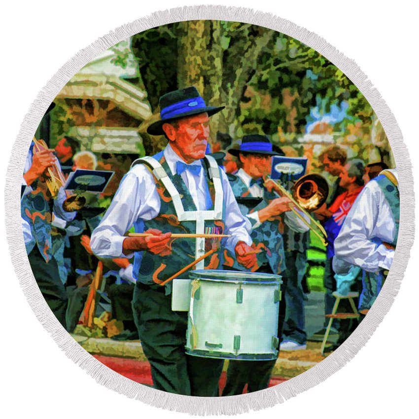 Band Round Beach Towel featuring the photograph Parade Musicians by Douglas Barnard