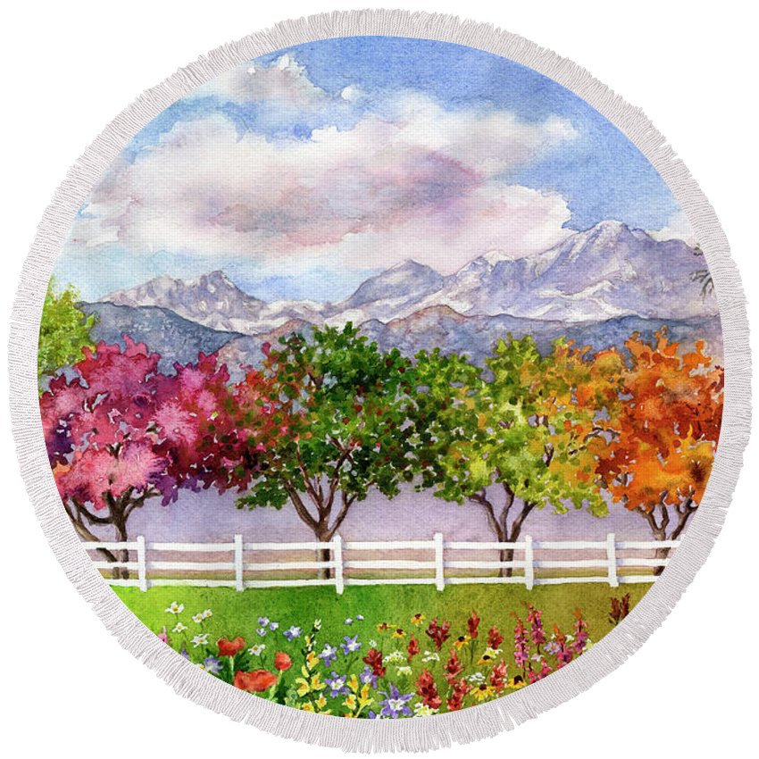 Trees Painting Round Beach Towel featuring the painting Parade Of The Seasons by Anne Gifford