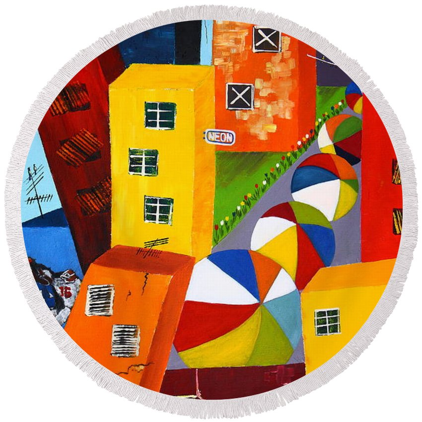 City Round Beach Towel featuring the painting Parade The Day After by Barbara Teller