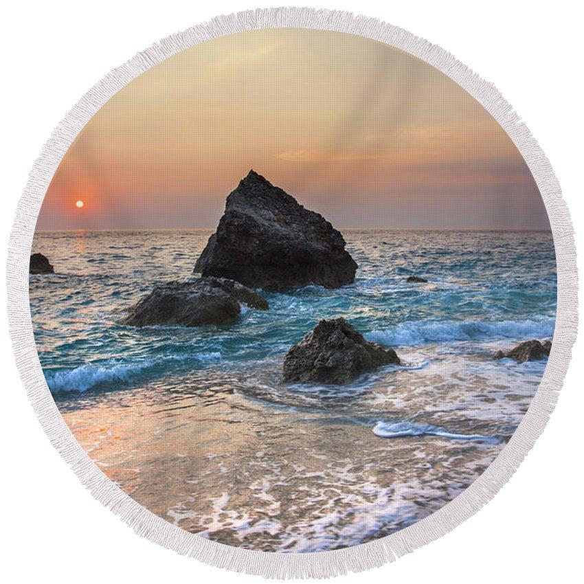 Beach Round Beach Towel featuring the photograph Paradise Beach Sunset by Sandra Rugina