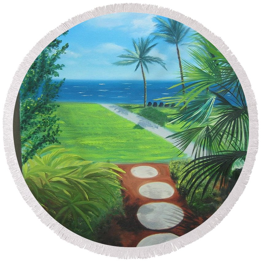 Seascape Round Beach Towel featuring the painting Paradise Beckons by Lea Novak