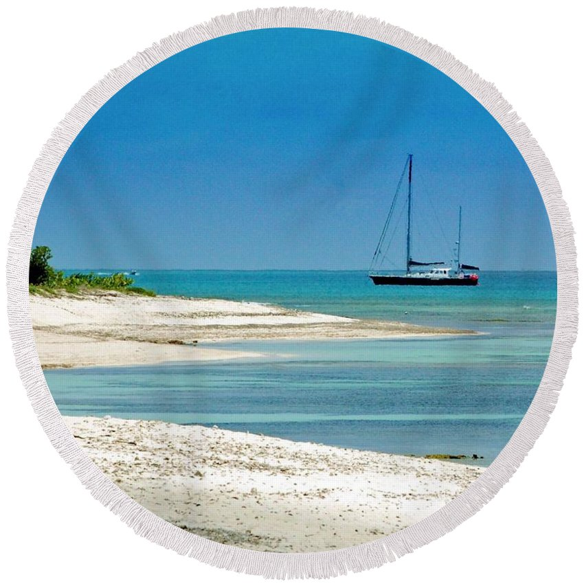 Boat Round Beach Towel featuring the photograph Paradise Found by Debbi Granruth