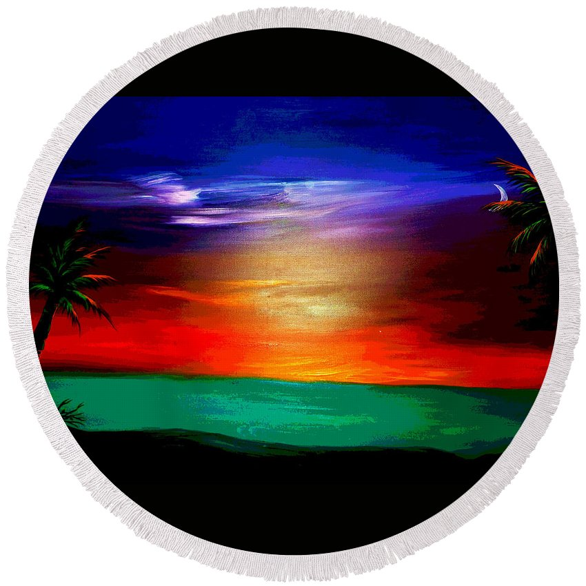 Acrylic Paintings Round Beach Towel featuring the painting Paradise II by Jean Habeck