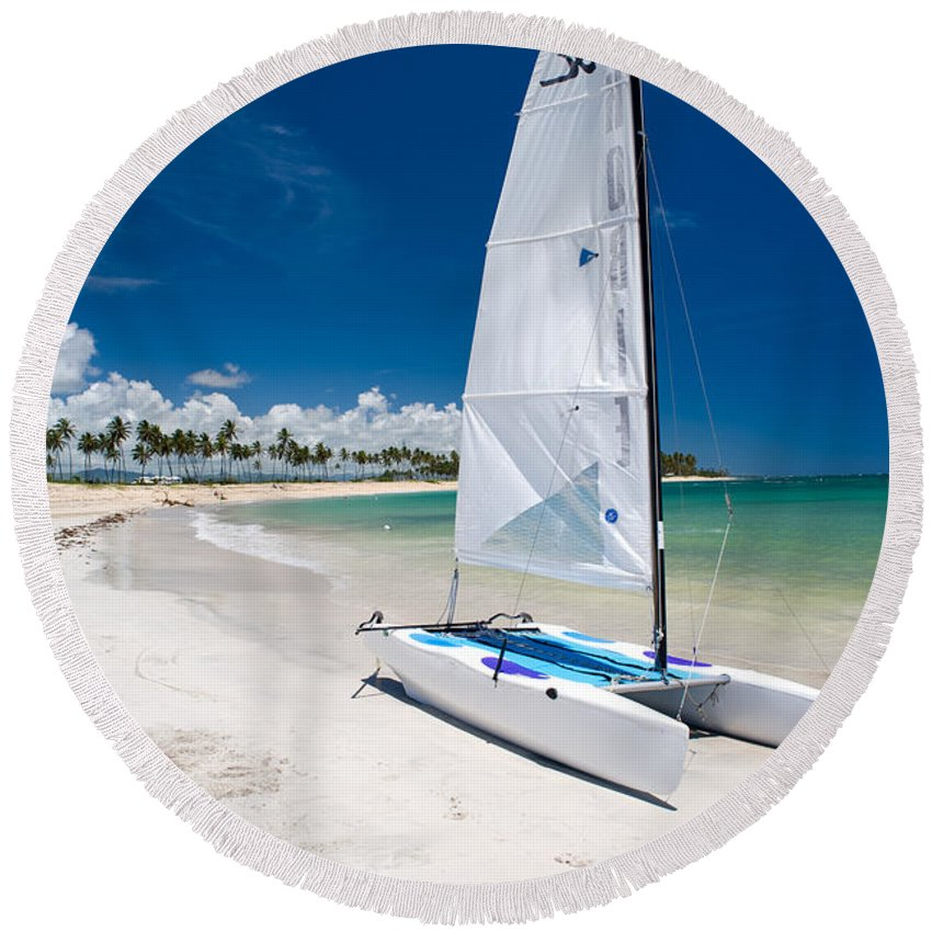 Island Round Beach Towel featuring the photograph Paradise Island by Sebastian Musial