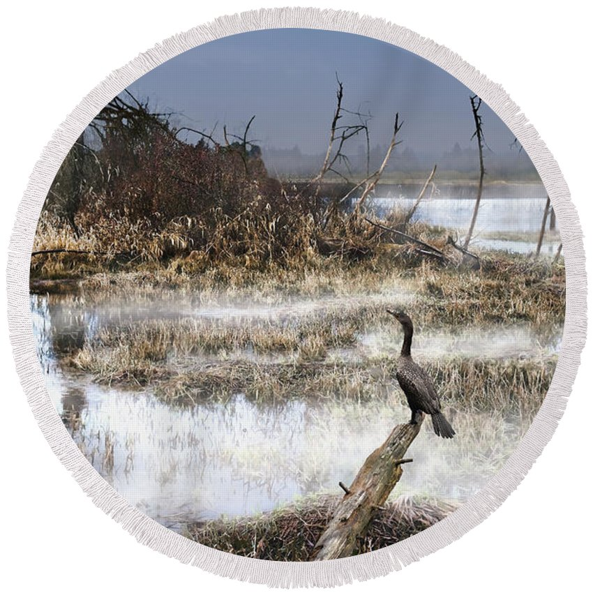 Wetland Round Beach Towel featuring the photograph Paradise Lost by John Christopher