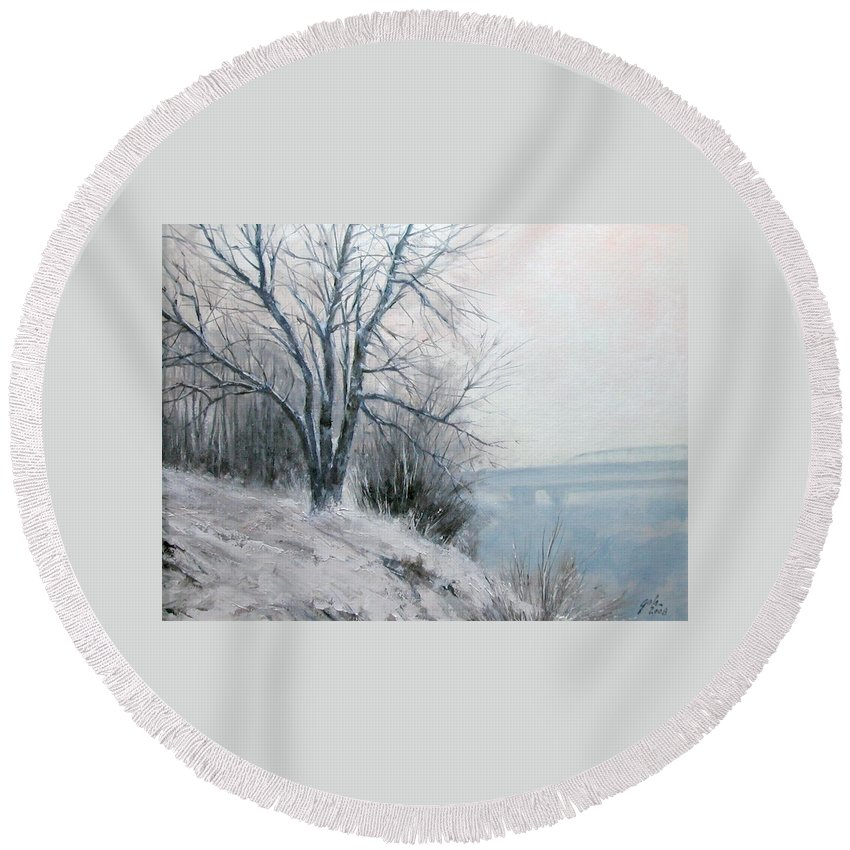 Art Round Beach Towel featuring the painting Paradise Point Bridge Winter by Jim Gola