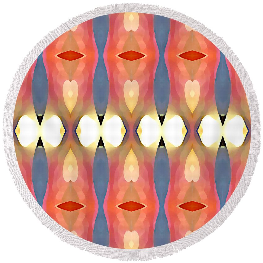 Abstract Art Round Beach Towel featuring the painting Paradise Repeated by Amy Vangsgard