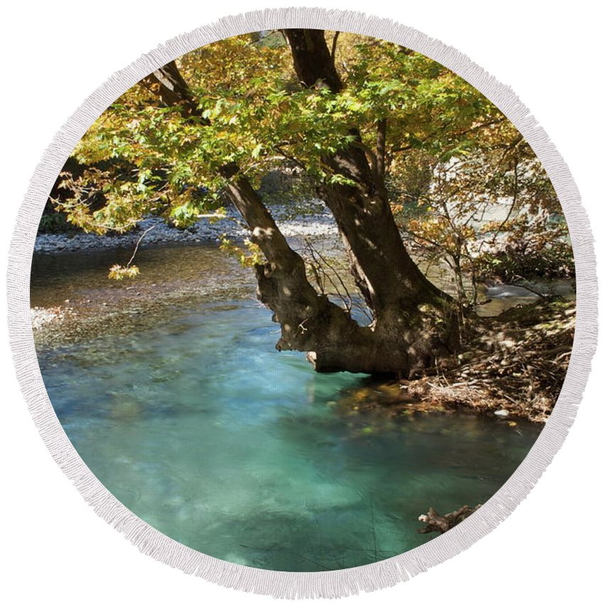 River Round Beach Towel featuring the photograph Paradise River by Loukianos Petrovas