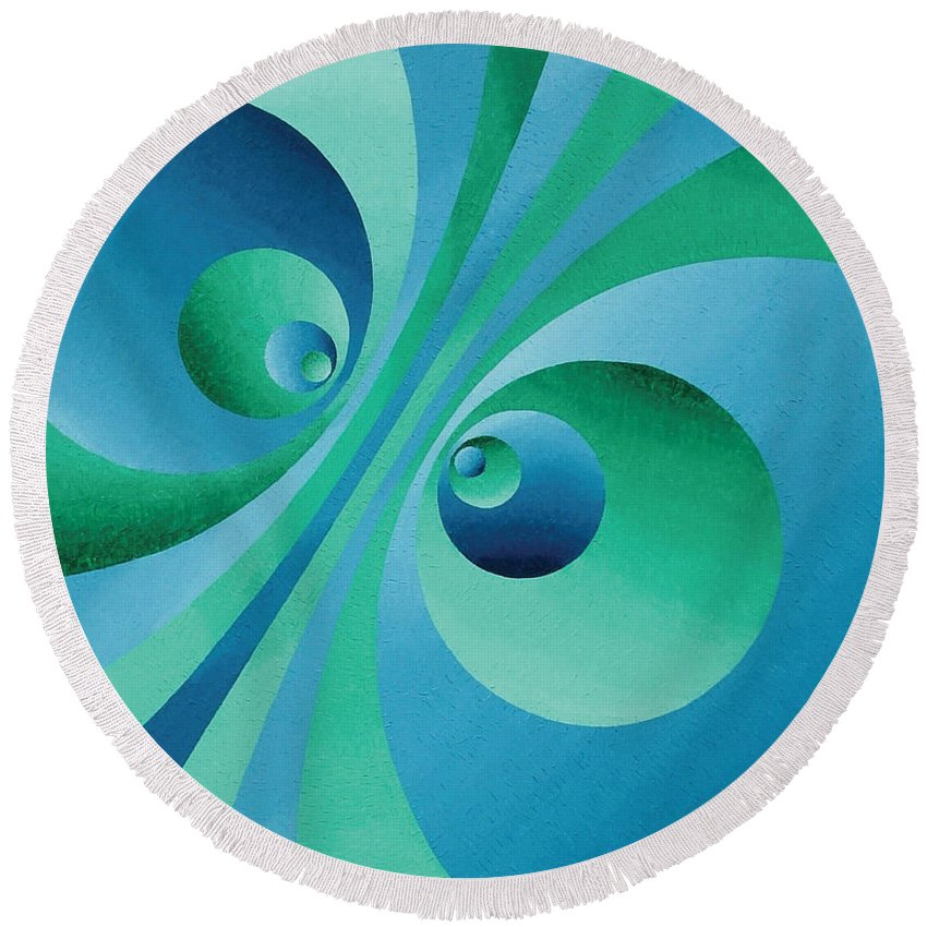 Oil Round Beach Towel featuring the painting Parallel Universes by Peter Antos