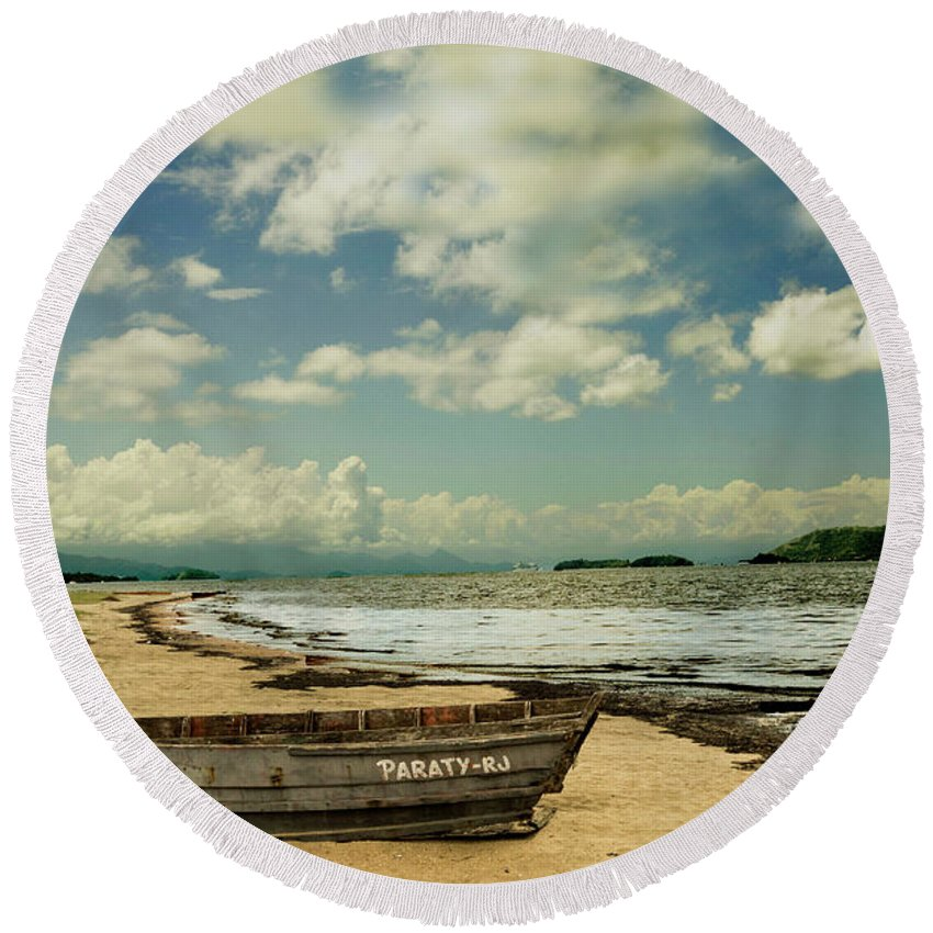 Landscape Round Beach Towel featuring the photograph Paraty Beach, So. America by Stan Roban