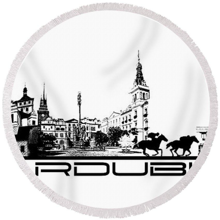 Pardubice Round Beach Towel featuring the digital art Pardubice Skyline City Black by Justyna JBJart