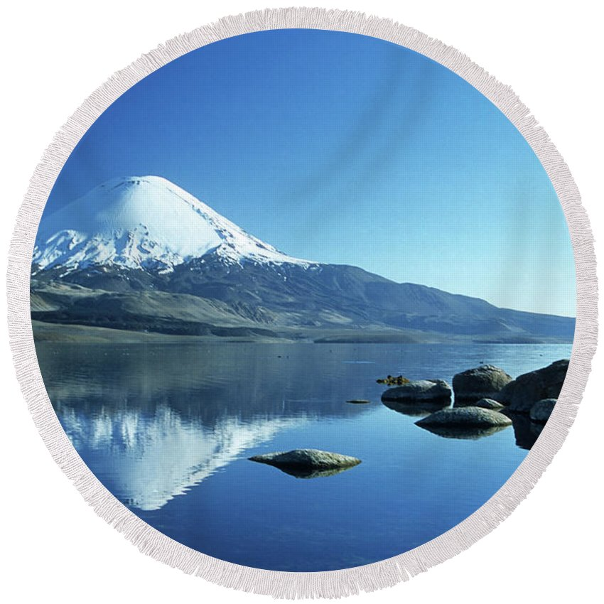 Chile Round Beach Towel featuring the photograph Parinacota Volcano Reflections Chile by James Brunker