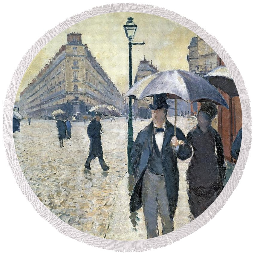 Sketch Round Beach Towel featuring the painting Paris a Rainy Day by Gustave Caillebotte