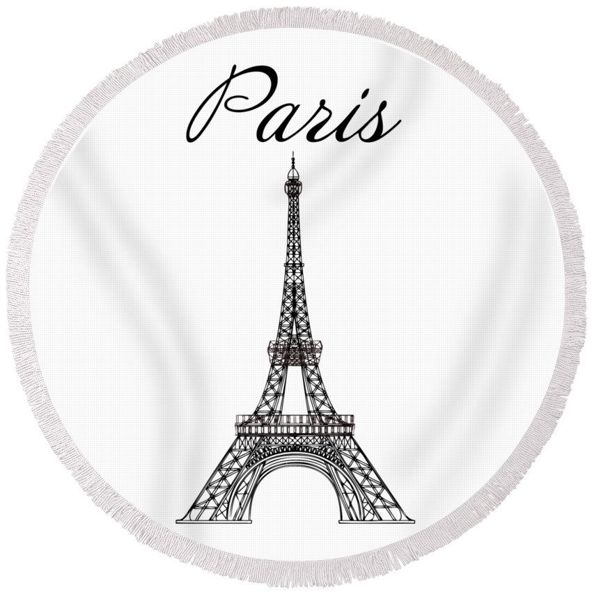 Eiffel Tower Round Beach Towel featuring the digital art Paris And The Eiffel Tower - Black by Custom Home Fashions
