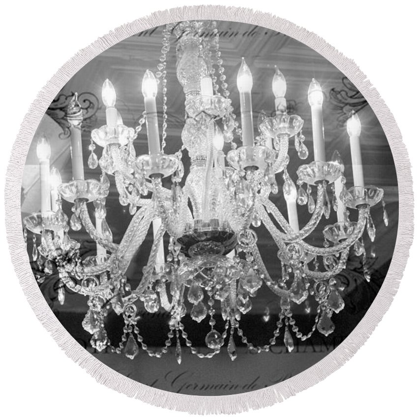 Paris Chandeliers Round Beach Towel featuring the photograph Paris Black And White Crystal Chandeliers - French Parisian Black White Crystal Chandelier Art by Kathy Fornal
