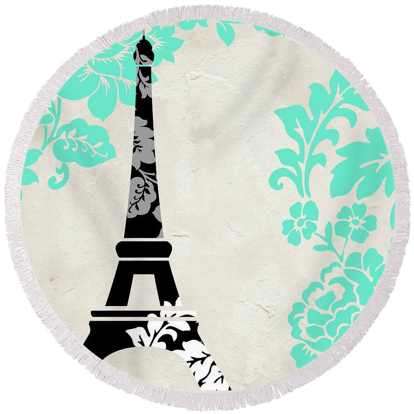 Paris Round Beach Towel featuring the painting Paris Blues by Mindy Sommers
