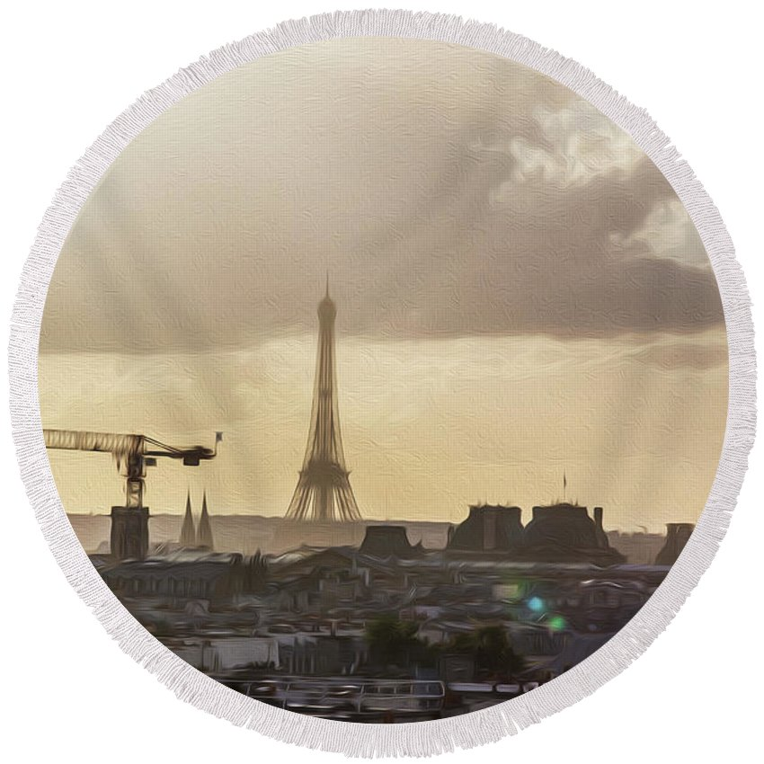Paris Round Beach Towel featuring the photograph Paris City View 30 by Alex Art and Photo