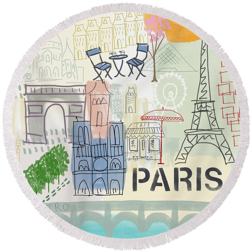 Paris Round Beach Towel featuring the painting Paris Cityscape- Art by Linda Woods by Linda Woods