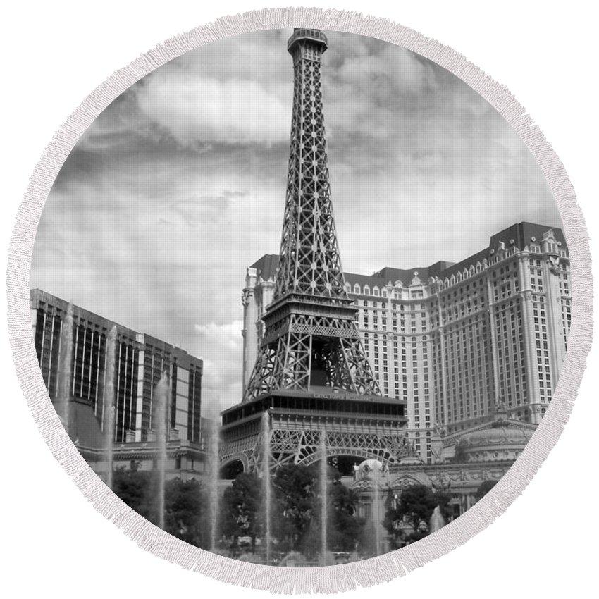 Paris Hotel Round Beach Towel featuring the photograph Paris Hotel - Las Vegas B-w by Anita Burgermeister
