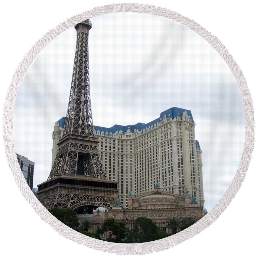 Bellagio Round Beach Towel featuring the photograph Paris Hotel by Anita Burgermeister