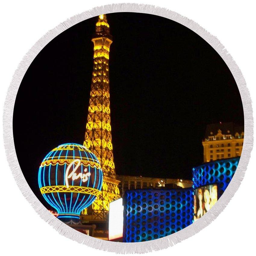 Vegas Round Beach Towel featuring the photograph Paris Hotel At Night by Anita Burgermeister