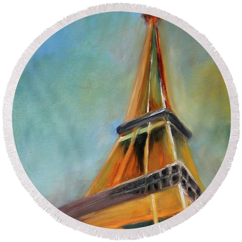 Eiffel Tower Round Beach Towels