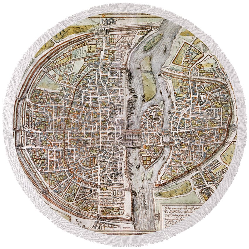 1581 Round Beach Towel featuring the photograph Paris Map, 1581 by Granger