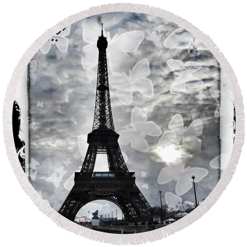 Paris Round Beach Towel featuring the photograph Paris by Marianna Mills