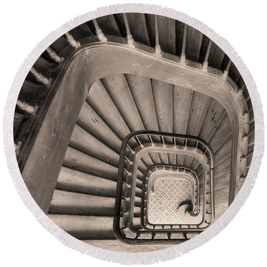 Above Round Beach Towel featuring the photograph Paris Staircase - Sepia by Brian Jannsen
