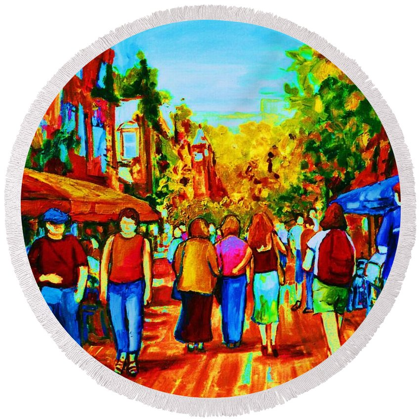 Cafe Scenes Round Beach Towel featuring the painting Parisian Cafes by Carole Spandau