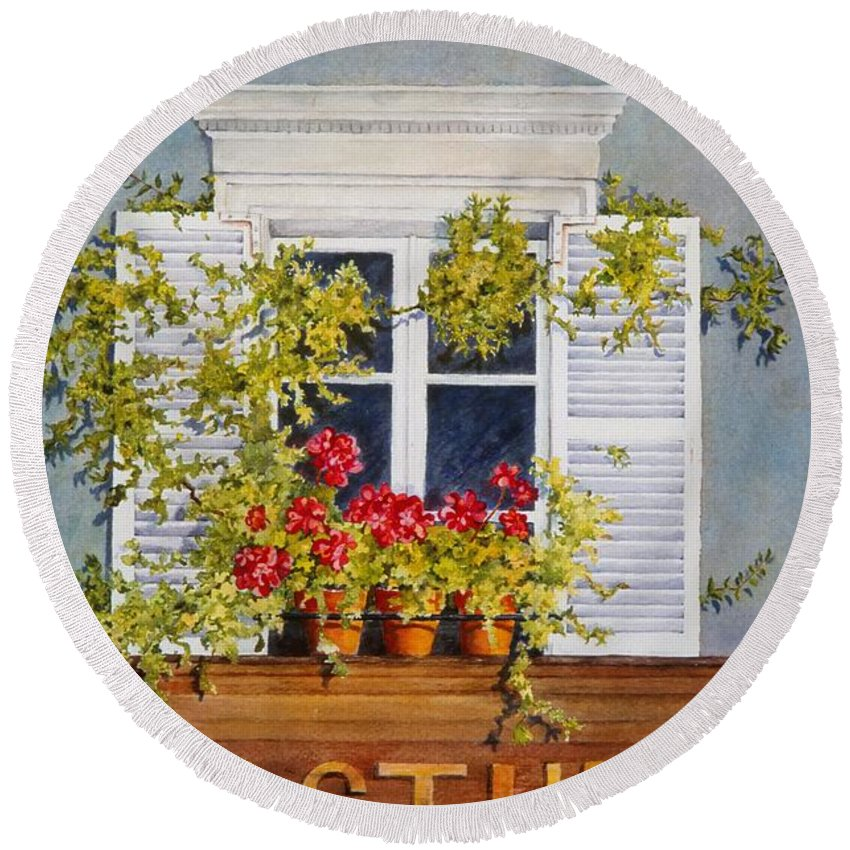 France Round Beach Towel featuring the painting Parisian Window by Mary Ellen Mueller Legault