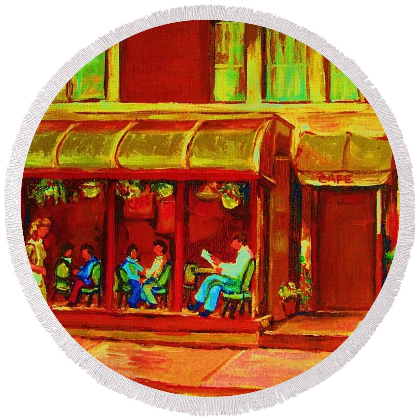 Montreal Round Beach Towel featuring the painting Park Avenue Montreal Cafe Scene by Carole Spandau