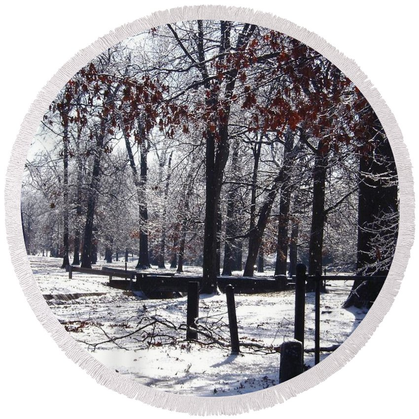 Landscape Round Beach Towel featuring the photograph Park In The Snow by Charleen Treasures