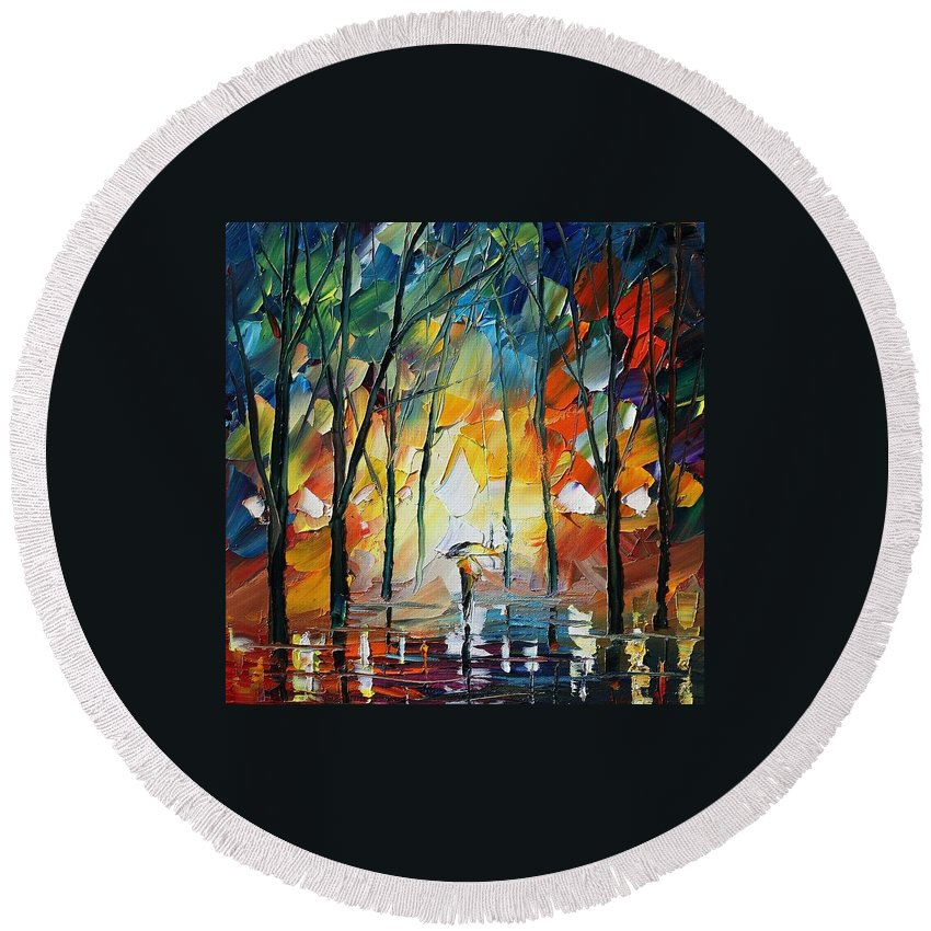 Afremov Round Beach Towel featuring the painting Park by Leonid Afremov