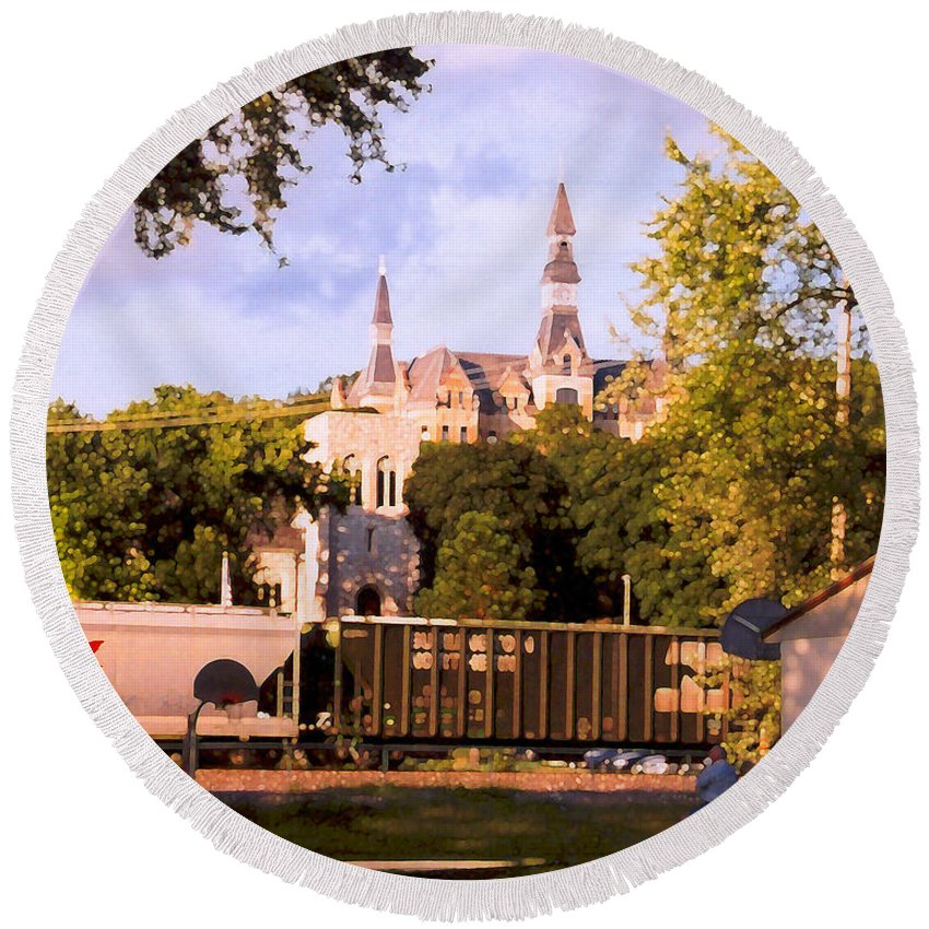 Landscape Round Beach Towel featuring the photograph Park University by Steve Karol