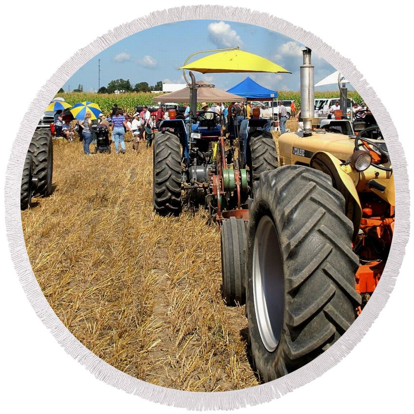 Tractors Round Beach Towel featuring the photograph Parking For Lunch by Ian MacDonald