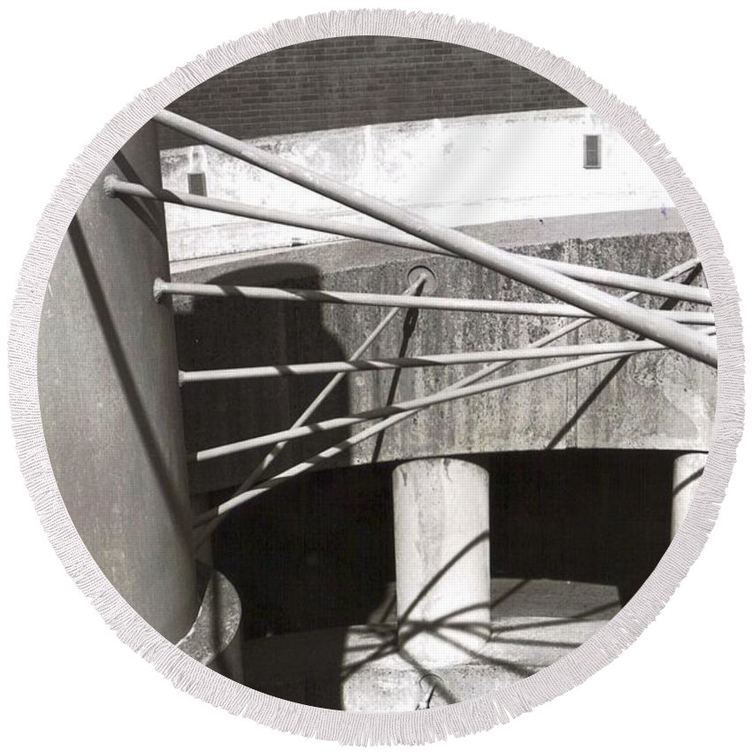 Black And White Photograph Round Beach Towel featuring the photograph Parking Garage by Thomas Valentine